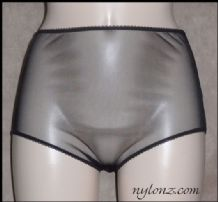 See Thru Sheer Gusset Nylon Full Cut Panties - Black, White, Red, Pink